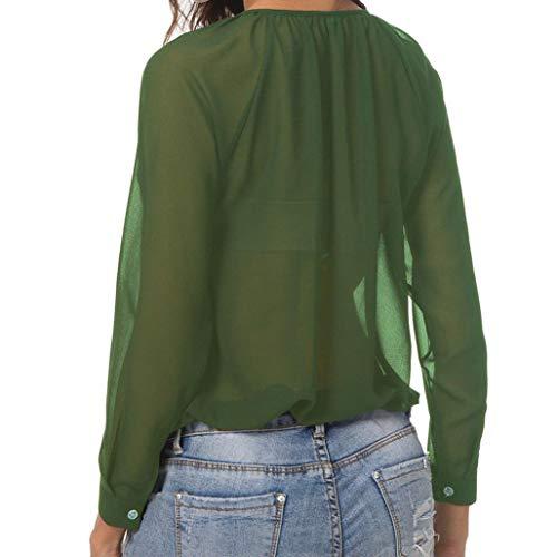 Senza Maniche Camicie e Donna La Camicia Bluse Forti a Collo Taglie JiaMeng Lunghe Chiffon Donna in qcZBnWxO