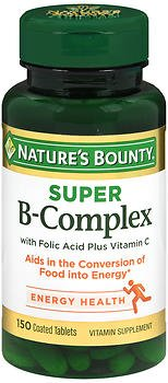 Nature's Bounty Super B Complex with Folic Acid Plus Vitamin C Tablets - 150 ct, Pack of 2