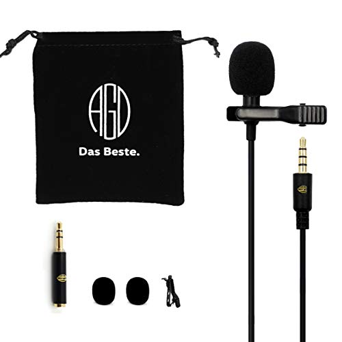 AGD Android Microphone - Exclusive ASMR Condenser Mic for Android - Lavalier Mic 3.5 - Best Professional Mini Small Lapel Mic for Cellphone Recording Youtube Vlog Interview Podcast Stream Instagram