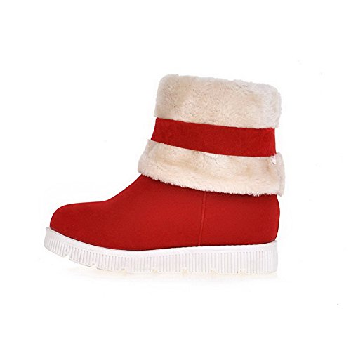 Pull Heels Closed Frosted On Red Low Toe Solid AgooLar Round Women's Boots RqEC4