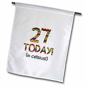 3dRose fl _ 184956_ 127hoy en celsius-funny 80th cumpleaños. 27C es 80en Fahrenheit jardín bandera, 12por 45,72cm