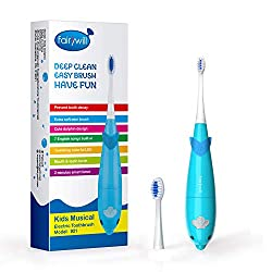 Fairywill Musical Kids Sonic Powered Electric Toothbrush - With A Smart Timer That Uses 7 Popular Kids Songs, Built In LED Lights, 2 Brush Heads, In Blue By Fairywill