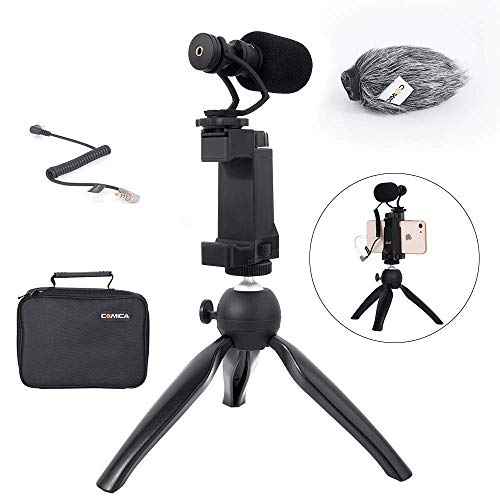 Comica Smartphone Video Recording Kit CVM-VM10-K2 Microphone Handheld Holder with Mini Tripod Shotgun Video Microphone Video Rig Compatible for iPhone X 8Plus 8 7Plus 7 Samsung Huawei P30 Xiaomi etc