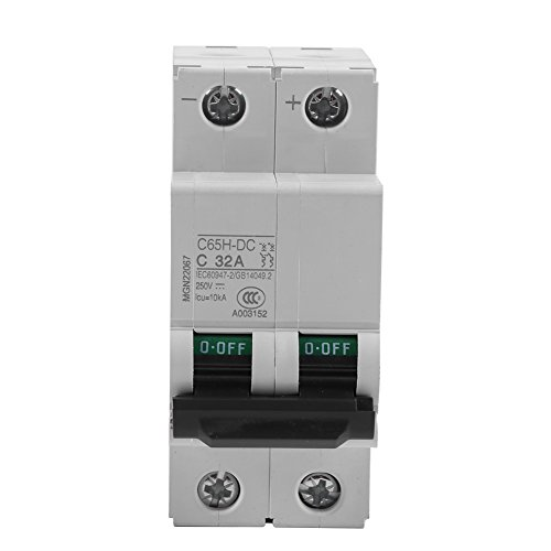 Akozon Miniature Circuit Breaker, DC 250V 2P Low-Voltage Miniature Air Circuit Breaker Solar Energy Switch 16A/32A/63A for Solar Panels Grid System, Wind and Solar Hybrid System(32A) by Akozon