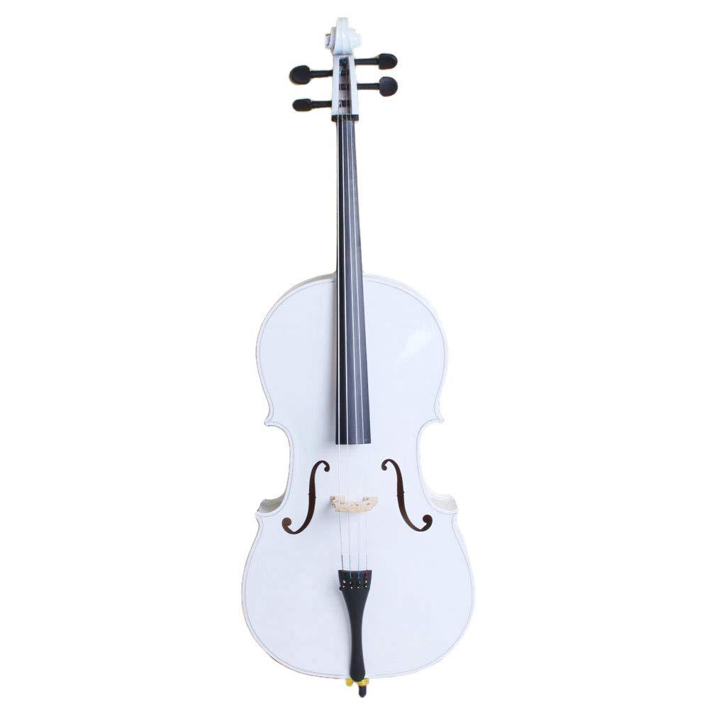 4/4 Acoustic Cello + Case + Bow + Rosin Wood Color Beautiful Varnish Finishing (White) by Lykos (Image #1)