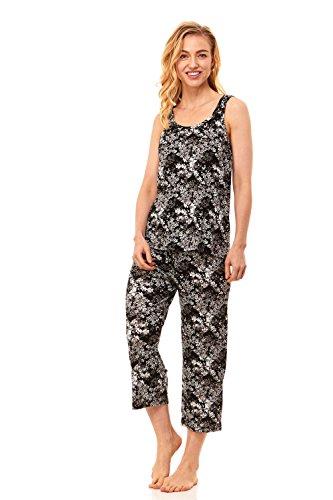 Rene Rofe Women's Sleepwear Lace Sleeveless Tank Top Shirt & Capri Pants Pajama Bottom Set (Small, Black)