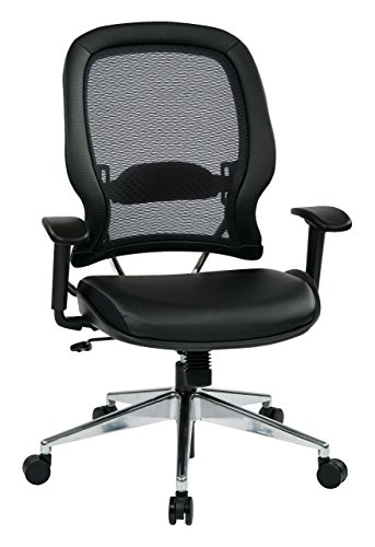 SPACE Seating Professional AirGrid Back and Eco Leather Seat and Trim, 2-to-1 Synchro Tilt Control, Adjustable Arms and Lumbar, Polished Aluminum Base Managers Chair, Black
