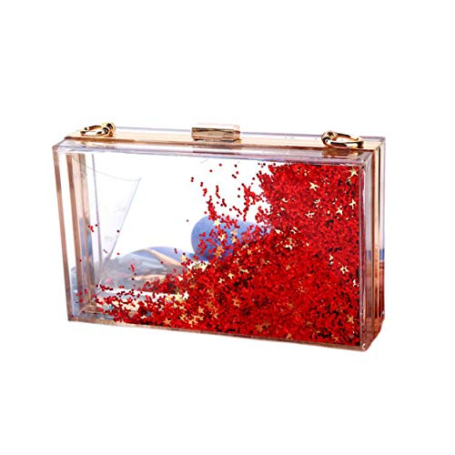 Party Bride Arcylic Bags Evening EPLAZA Clutch Purse Transparent Handbag Red Prom Sequins Glittering Women For 1wqPqF7