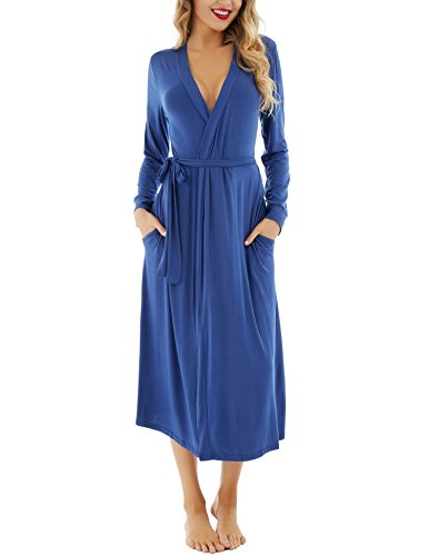 Dromild Women Robe Soft Modal Bathrobe Cotton Kimono Long Sleepwear Lounge wear Dark Blue XL -