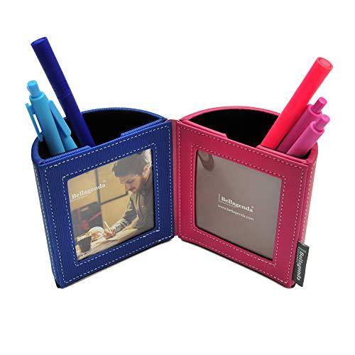 Bellagenda Desk Organizer Picture Frame| Pen Pencil Holder with Photo Frames | Desk Decoration | Multiple Picture Frame | Functional Desk Stationery | Space Saver | PU Leather & Suede (Red Blue) (Photo Leather Holder)