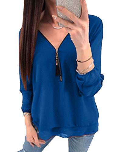 Crois Taille Manche Longue Bleu Femme Grande Blouse Shirt Casual Col Chemise Longue Fluide Soie Tee Classique Tunique Shirts T Chic de Chemisier Zipper Hauts V Mousseline lgant Tops waIpqEO5nx
