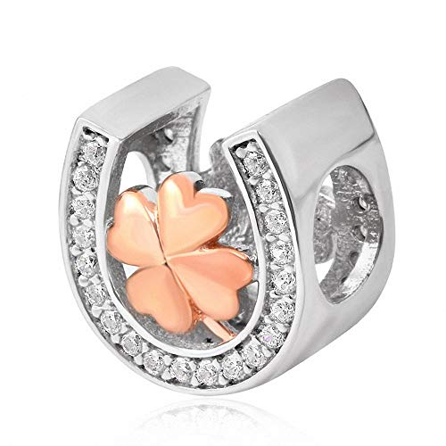 - Xuthus Charms Rose Gold Clover with White Crystal Inlay Horseshoe Charm 925 Sterling Silver Beads