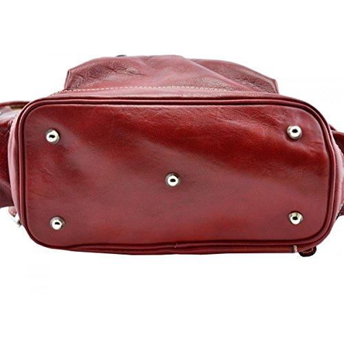 Zaino In Vera Pelle Colore Rosso - Pelletteria Toscana Made In Italy - Zaino