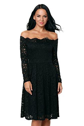 Women's Neck Lace Crochet Slash CH Dress Neck High EZON Mini Black fxqAw57Wg