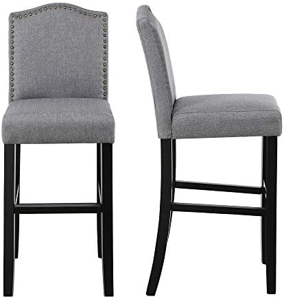 DAGONHIL 29 Inches Bar Height Bar Stools with Bronze Nail, Gray, Set of 2