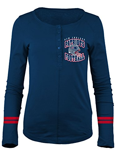 NFL New England Patriots Women's Long Sleeve Scoop Neck Henley Shirt, Small, Navy
