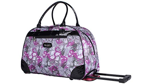 Kathy Van Zeeland Luggage 22 Inch Rolling Carry On Printed Wheeled Duffel (Butterfly Lavdr, One_Size) -