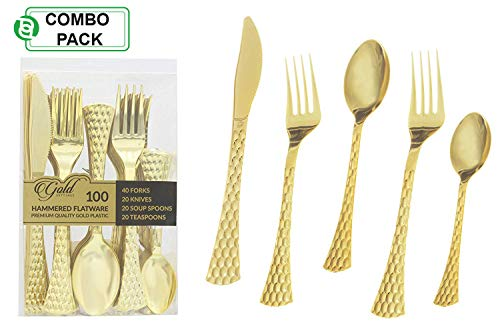 Gold Plastic Silverware Set | Assorted Solid Plastic Cutlery Disposable Flatware | Perfect for Weddings, Dining and Parties | Includes 40 Forks, 20 Soup Spoons, 20 Teaspoons & 20 Knives ()