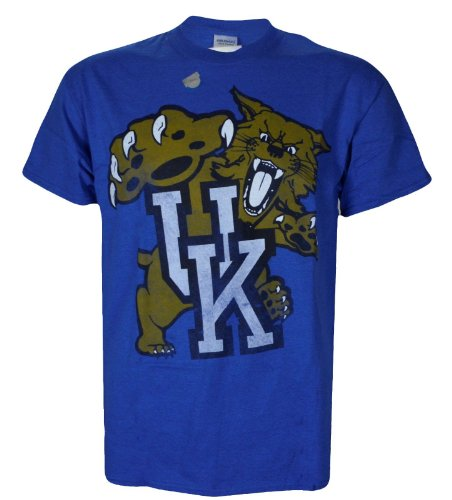 NCAA Champions University of Kentucky Wildcats UK Basketball : UK Cat Antique Style T-Shirt on Short Sleeve Blue