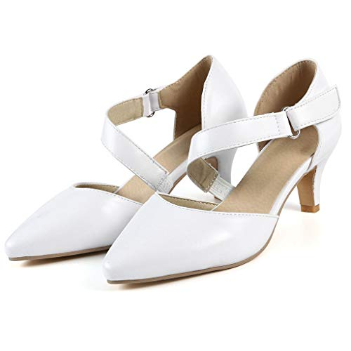Sharemen Womens Classic Low Mid Heels Shoes- Pointed, Closed Toe Low, Kitten Heel Pumps(White,US: 7) by Sharemen Shoes (Image #1)