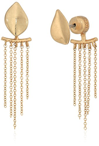 Kenneth Cole New York Textured Delicates Gold Linear Front Back Drop Earrings