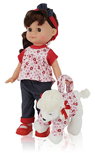 Super-Cute-12-Inch-Brown-Hair-Girl-Play-Doll-Comes-Dressed-with-Clothing-Shoes-and-Matching-Puppy-Purse-Accessories-included-Blinking-Eyes-and-Cute-Expressions-The-Best-Gift-for-your-Children