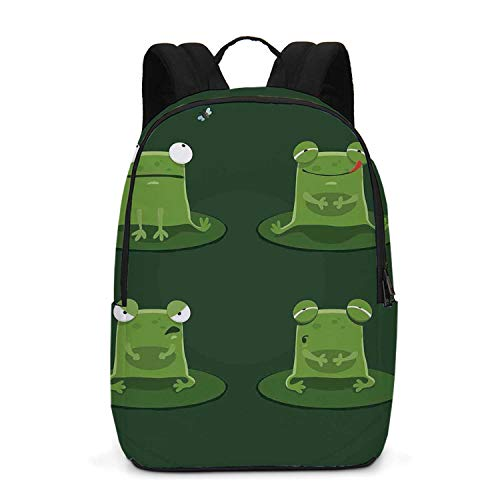 Funny Durable Backpack,Funny Muzzy Frog on Lily Pad in Pond Hunting Tasty Fly Expressions Cartoon Animal for School Travel,One_Size ()