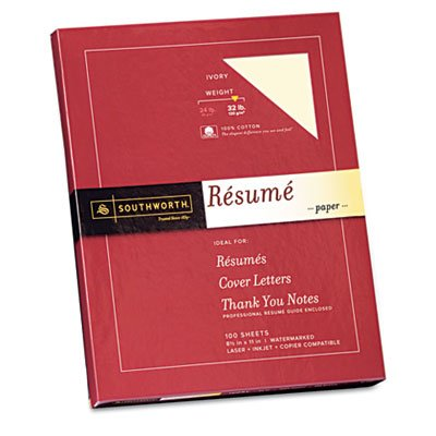 Southworth(R) 100% Cotton 100% Recycled Resume Paper, 8 1/2in. x 11in., 32 Lb, Ivory, Pack Of 100