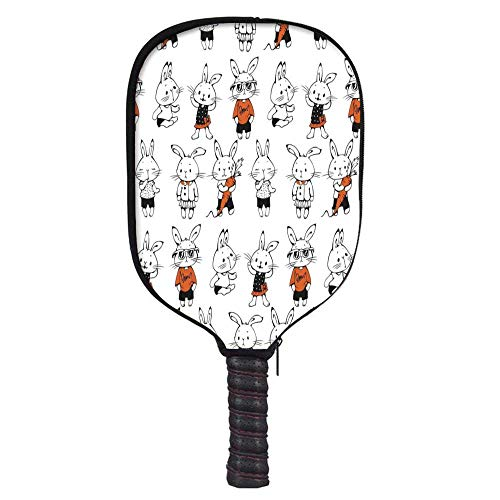MOOCOM Funny Fashion Racket Cover,Cute Retro Bunny Rabbits with Costumes Jack Hare Funky Bunnies Carrot Sketch Style for Playground,8.3