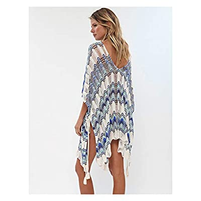 Wander Agio Beach Swimsuit for Women Sleeve Coverups Bikini Cover Up Net Slit Macthing Color Blue at Women's Clothing store