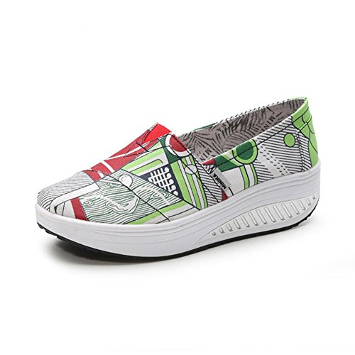XUE Women's Shoes Canvas Spring Fall Loafers & Slip-Ons Driving Shoes Fitness Shake Shoes Shake Shoes Shaking Shoes Flat Loafers Sneakers Athletic Shoes Platform Shoes (Color : D, Size : 35) C