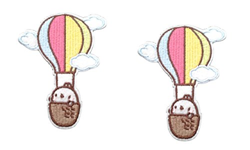 2 pieces HOT AIR BALLOON Iron On Patch Fabric Applique Motif Travel Summer Holiday Children Decal 3 x 2.3 inches (7.5 x 5.8 cm)