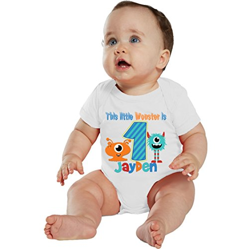 NanyCrafts Baby's This Little Monster Birthday Boy Personalized Baby Bodysuit 18M White]()