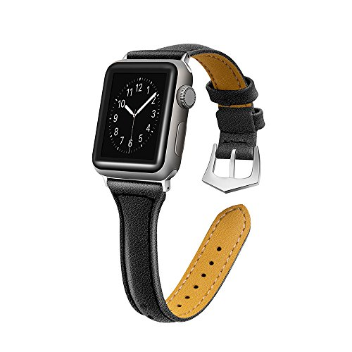Sunbona 38mm Bracelet Band for Apple Watch Series 1/2/3, Solid Color Durable Leather Adjustable Sports Bangle Replacement Wrist Women Strap Gifts ()