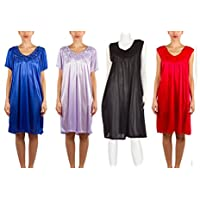 4 Pack of Silky Sheer Nightgowns with Embellished Flower Neckline (9027 & 9033)