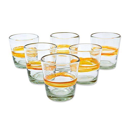 (NOVICA Yellow Stripe Eco-Friendly Hand Blown Tumbler Glasses, 10 oz, Ribbon Of Sunshine' (set of 6))