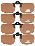 "Eyekepper Flip-up Clip-on Sunglasses Polarized 2 3/8""x1 11/16"" 4-Pack Metal Glasses Clip Brown"