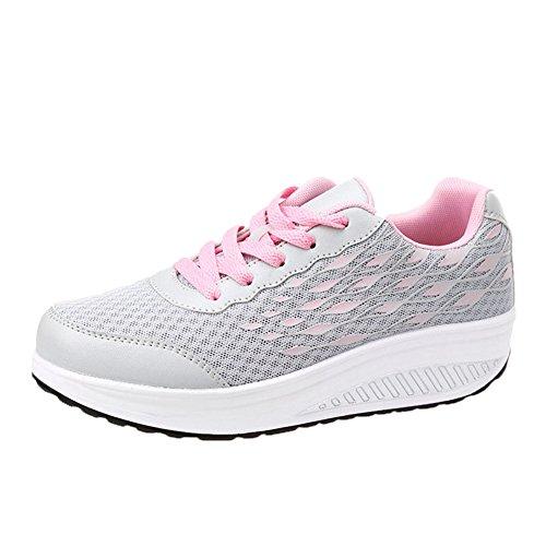 Cybling Zapatillas De Viaje De Cuña Para Mujer Breathable Low Top Lace Up Zapatos De Caminar Al Aire Libre Gris