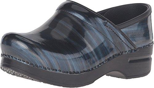 Leather Blue Silver - Dansko Women's Professional Mule, Silver/Blue Stripe, 41 M EU / 10.5-11 B(M) US