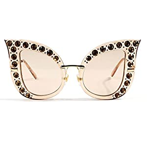 Glamaker Womens Fashion Oversized Cat Eye Mirrors Rhinestones Twin-Beams Sunglasses Shades,Coffee,One Size