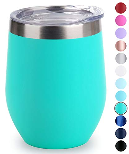 SUNWILL Vacuum Insulated Wine Tumbler with Lid (Teal), Stemless Stainless Steel Insulated Wine Glass 12oz, Double Wall Durable Coffee Mug, for Champaign, Cocktail, Beer, Office use (Glass Teal)