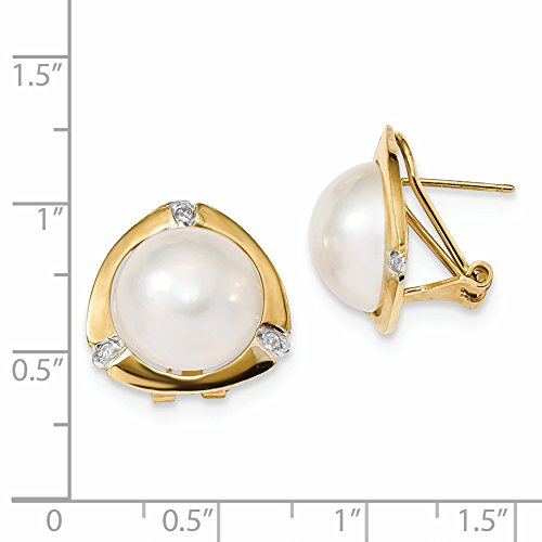 ICE CARATS 14k Yellow Gold 13mm White Mabe Freshwater Cultured Pearl .06ct Diamond Omega Back Ball Button Stud Earrings Fine Jewelry Gift Set For Women Heart by ICE CARATS (Image #3)