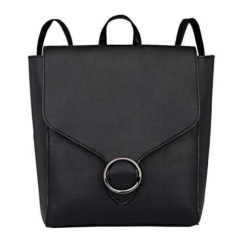 - Pocciol Vintage Bag, Women Student Leather Shoulder Bag School Bag Pure Color Tote Backpack (Black)