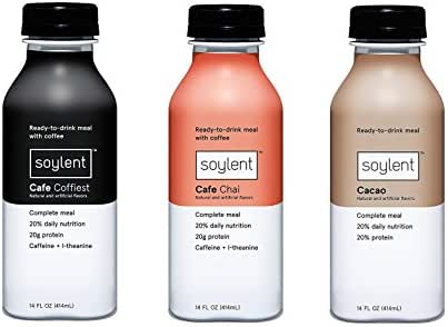 Soylent Meal Replacement Drink Bundle - Filled with Soy Protein and Packed with Essential Vitamins and Minerals | Flavors Cafe Coffiest, Cafe Chai, Cacao | 14 Fluid Ounces, Set of 3