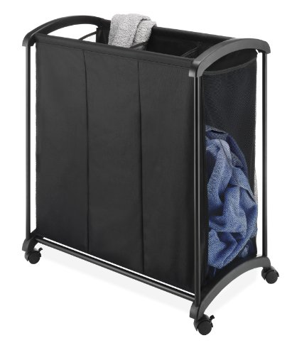 3-Section Laundry Sorter, Black