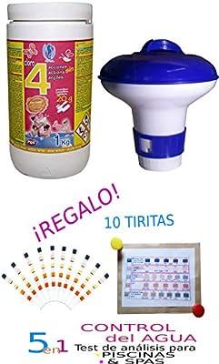 Lote-Cloro EN Pastillas 4 ACCIONES 20 Gramos DE 1 KG + CLORADOR ...