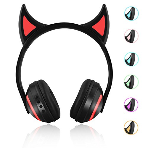 JFtown Wireless Bluetooth LED Headphones Support 7 Colors Lights Devil Ear Cosplay Over Ear Stereo Bluetooth Headset with Microphone and Volume Control for Kids Girl Boy Compatible with PC/iPhone/iPad
