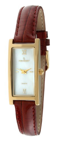 Face Leather Strap Watch - Peugeot Women's 3017BR Gold-Tone Brown Leather Strap Watch