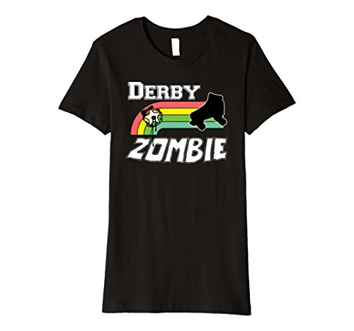 Roller Derby Costumes (Womens Roller Derby Zombie Halloween Costume T Shirt Large Black)