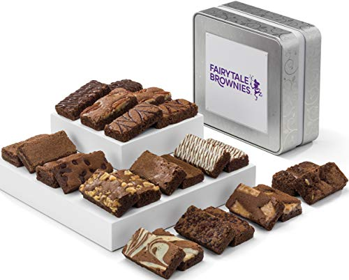 Fairytale Brownies Keepsake Tin Sprite 24 Gourmet Chocolate Food Gift Basket - 3 Inch x 1.5 Inch Snack-Size Brownies - 24 Pieces - Item TF224